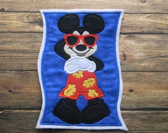 Mickey Mouse Beach Towel Embroidered Applique ~ No Sew ~ Summer ~ Pool ~ Beach ~ Iron On Patch