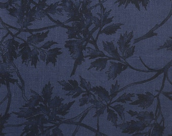 Linen Fabric By the Yard Navy with Flowers Print #1