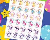30 ct My Little Pony personalized stickers birthday party favor tags labels cupcake toppers decoration
