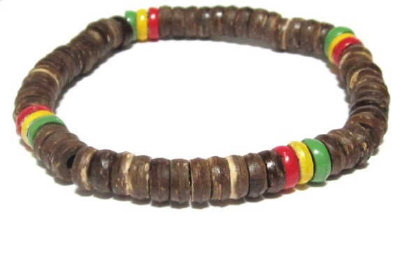 rasta bracelet coconut wood jamaican bracelet