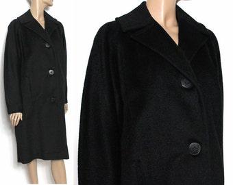 Vintage 1950s Coat Wool Coat Designer Black Coat Overcoat Mad Man Garden Party Rockabilly Retro Femme Fatale Dress Pinup Bombshell