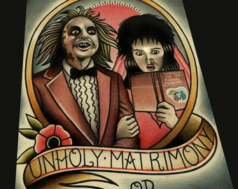 Unholy Matrimony (Beetlejuice) Art Print