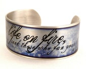 Rumi Quote Bracelet, Set your Life on Fire Cuff, Blue and Silver, Plated Cuff Bracelet Jewelry