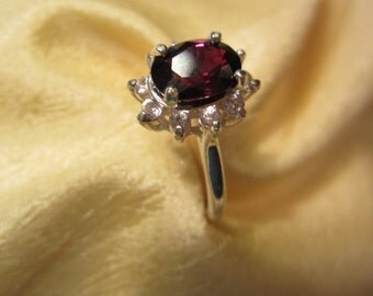 Natural African Oval Garnet Accented Sterling ring