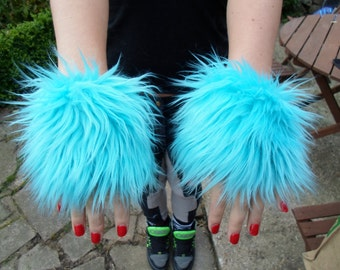 One Luxury Pair of Turquoise Furry Wrist Cuffs Wristlets Cute Cosy Cosplay Elasticated Winter