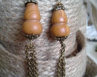 Boho , Hippie wood jasper earrings