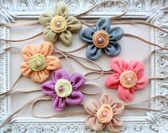 Flower Headband Set of 6 - Vintage Headbands - Baby Headband, Newborn Headband, Girl Headband
