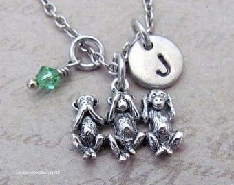 Hear No Evil Monkey Charm Necklace, Personalized Antique Silver Hand Stamped Initial  Three Wise Monkeys Necklace