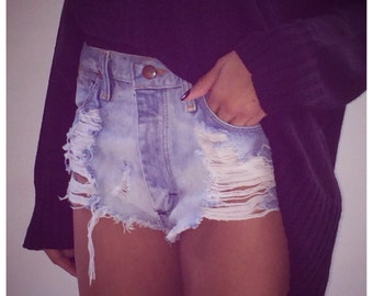 Made to order .Bleached distressed high waist vintage shorts