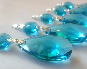 ONE Chandelier Crystals Turquoise Teardrop Aqua 38mm Aquamarine Blue Almond Ornament Shabby Chic