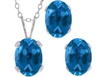London Blue Topaz Oval Stud Earrings & Pendant .925 Sterling Silver
