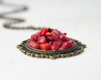 Valentine Red Coral Brass Necklace - Red Poppy natural necklace