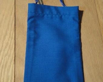 Small Cotton Drawstring Mojo Bag--Blue