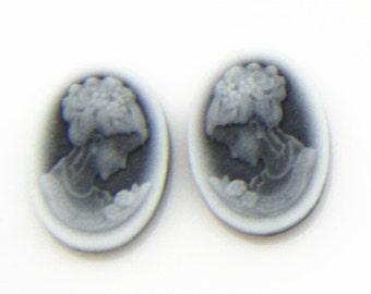 6 pcs or 3 pairs of resin cameo top high quality vintage cameo 10x14mm-0348