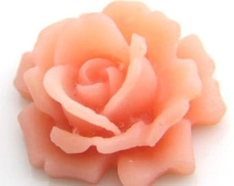 12 pcs   of resin  flower  cabochon 33mm -0007-baby pink