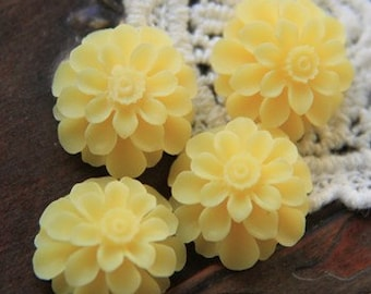 12 pcs of resin flower cabochon20mm-0031--22-yellow