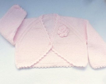 Baby girl hand knitted pale pink baby bolero cardigan to fit 12 to 18 months