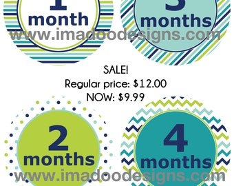 SALE - Modern Baby Boy Monthly Stickers - Month Stickers 1 to 12