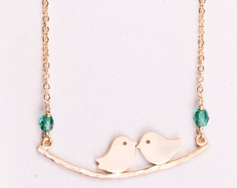Delicate Gold Love Birds Necklace - Crystal green beads - 14k Gold Filled Necklace - Birds On a Branch- Bridesmaid Gift