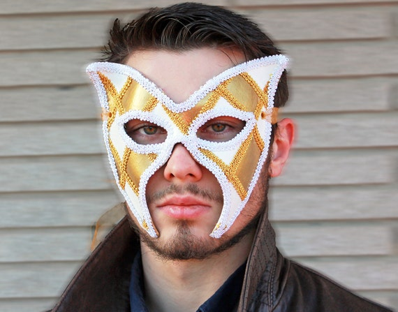 Gold and White Wing Shaped Leather Masquerade Mask Leather Jester Renaissance Faire Mask