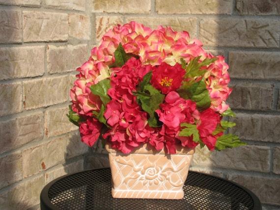 Terra cotta basket with hydrangeas floral by florallyyoursbydonna - Terras arrangement ...