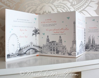 Travel Theme Wedding Invitation - Unique Concertina Folding Handmade Design