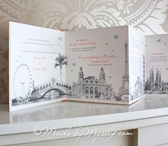 Items Similar To Travel Theme Wedding Invitation