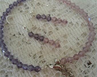 Crystal bracelet and earrings Shades of Purple Swarovski crystals Handmade bracelet and earrings