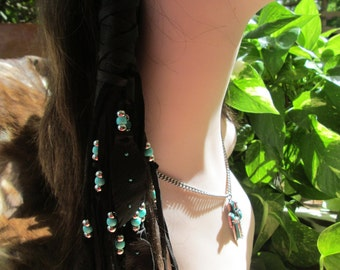 Native American One Hair Wrap Black Deerskin Leather  With Teal and Silver Beads,Black Leather Feathers Hair Wrap