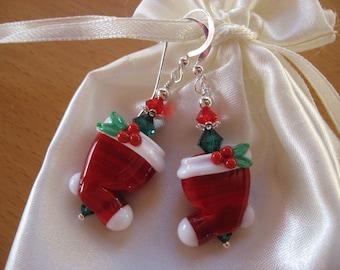 Christmas Stocking Earrings, Christmas Stockings, Christmas Earrings, Lampwork Earrings, Handmade Lampwork Beads, Holiday Earrings, Winter