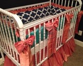 Coral, Navy, and Jade Three Piece Baby Bedding Set