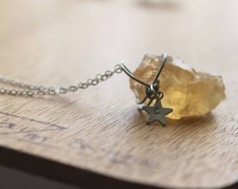 GENUINE raw Citrine Necklace Healing Crystal Natural Stone Unheated Citrine Untreated Citrine