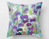 Floral Pillow Cover,Fine Art Pillow Cover,Floral Garden Colorful, Home Decor, Surreal ,Purple, Magical, Floral ,Ethereal