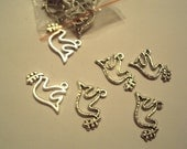 20 Tibetan Silver Peace Dove with Olive Branch Charms Beautifully Detailed 19x11.5mm