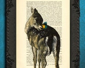 fawn print, baby deer poster, fawn with butterfly art, deer print on dictionary pages, woodland creatures