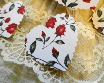 Red Rose Heart Die cuts Set of 10