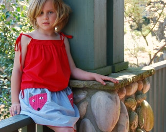 Kitty cat skirt - girls skirt 2 to 9 years - fully lined gathered skirt blue and red