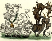 Sheep and Goats, Ink and Watercolor Original Painting