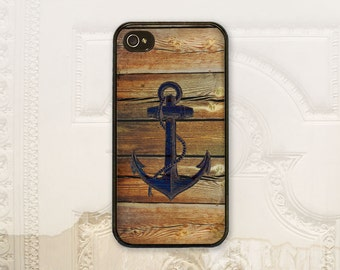 Anchor phone case iPhone 4 4S 5 5s 5C 6 6+ Plus, Samsung Galaxy s3 s4 s5 s6 Nautical Faux wood texture anchor phone cover Gift for him M6021