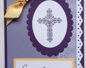 Easter Blessings Handmade Cross Purple and Yellow Card