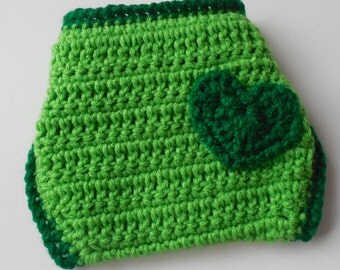 Baby Diaper Cover - Green - Light and Dark Green with Heart - Handmade Crochet - Nappy Cover - Ready to Ship