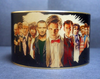 Dr Who Steampunk Doctor Who 50th Anniversary The Doctors 1 1/2 Inch  Brass Cuff Bracelet
