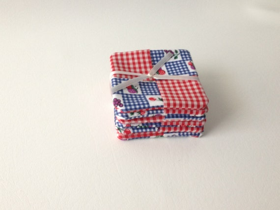Berry Coasters, Red and White Check, Fabric Coaster Set, Hand Made