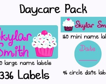 336 Personalized Waterproof Dishwasher Safe Daycare Pack of Labels Sippy Cup Baby Bottle Custom Name Stickers Baby Girl - Cupcakes