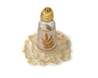 Vintage Anchor Hocking  Pepper Shaker Gold Leaf  Frosted Glass Single Shaker to Match the Salt Tabletop Vintage Kitchen