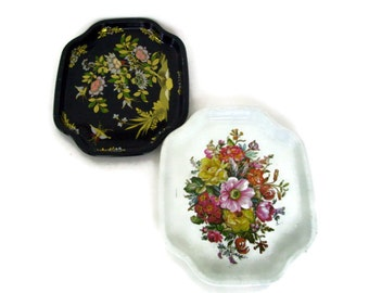 Vintage Elite Tray, Made in England, Metal, Floral, Home Decor, Snack Tray, Cottage, Serving Tray, 1960's, Set of 2