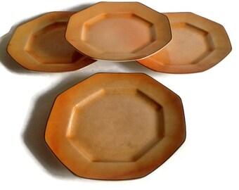 Steubenville China, Porcelain Plates, Vintage Kitchen- 1920's, Octagon, Set of 4, Lustreware, Peach, Black Trim, Art Deco, Orange,