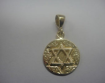 Special David Star Pendant, 14K Yellow Gold Pendant Judaica