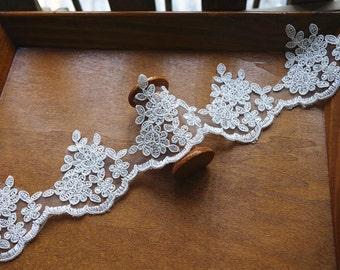 ivory alencon Lace trim, cord Lace Trim, bridal lace trim, scalloped trim lace