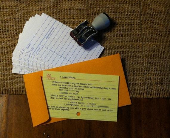 Catalog Card Literary Shower Invitations (set of 25)